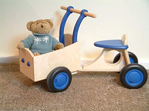 Unbekannt Bakfiets / tolles Vierrad mit Transportbox / Material: Holz / Farbe: Natur+blau / Maße: ca. 72 x 35 x 43 cm - Sitzhöhe: 25 cm / 1+