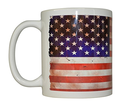 Best Coffee Mug USA Tattered Flag American Patriot Novelty Cup Great Gift Idea For Men Dad Father Husband Military Veteran Conservative (Tattered)