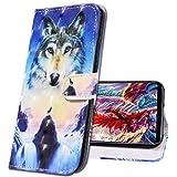 MRSTER Samsung A70 Funda con Tapa Cover Premium PU Leather Wallet Case Creativa 3D Diseño de Pintado Carcasa de Cuero Billetera Estuche para Samsung Galaxy A70. CY Sunrise Wolf
