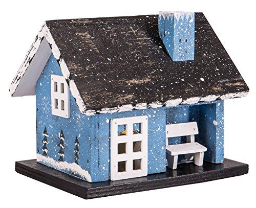 LED Holzhaus Weihnachtshaus Farmer Haus Blau Teelicht Batteriebetrieb ca. 12,5 x 14,5 x 10,5 cm (HxBxT)