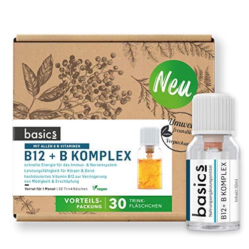 basics Vitamin B12 + B-Komplex Monatskur mit allen 8 B-Vitaminen, 30 x 10ml Fläschchen, hochdosiert, Vegan mit Folsäure, Niacin, Biotin - unterstützt den Energiestoffwechsel, Nerven- & Immunsystem