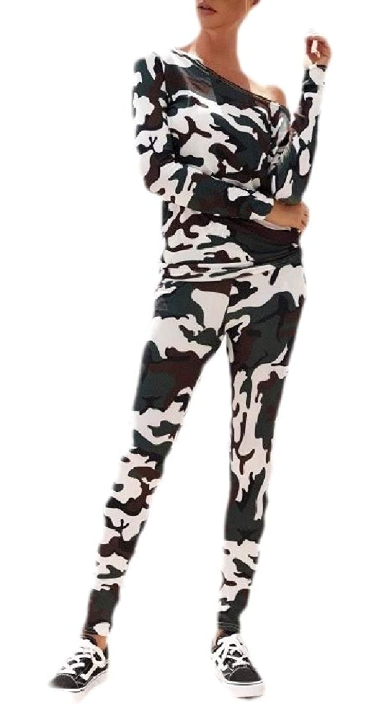 隣人腐食するまばたきWomens Hipsters One Shoulder Camouflage Print Casual Top Pants Tracksuit Set