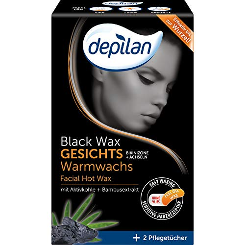 Depilan, Black Wax - Cera caliente para la cara, la zona del bikini, axilas, sin fieltro, depilación sin vellón, 100 g, color negro