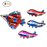 SYNUO 4 Piece 32 Inch Large Aircraft and Fighter Model Aluminum Balloons, Kids Toy Balloons, Birthday Party Baby Shower Decorative Balloons.