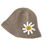 BLUEXIAO Sombrero de punto grueso de ganchillo para mujer, diseño floral, redondo, para pescador