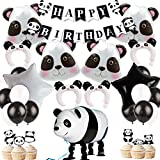 Panda Party Decorations Cupcake Toppers Panda Walking Mylar Balloon Headband Balloons for Panda Bear Birthday Party and Baby Shower Supplies