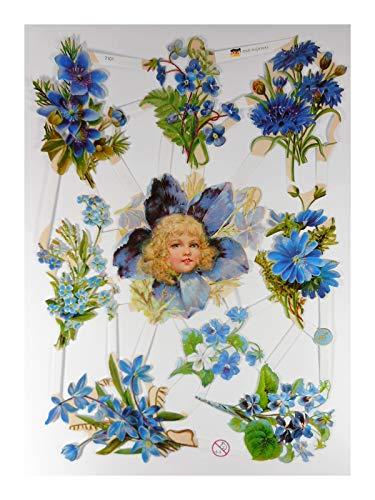 Glanzbilder EF 7101 Engel Blume Strauss Oblate Posiebilder Scrapbook Deko GWI 624
