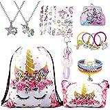 RLGPBON Unicorn Gifts for Girl Drawstring Backpack/Makeup Bag/Unicorn Pendant Necklace/Bracelet/Hair...