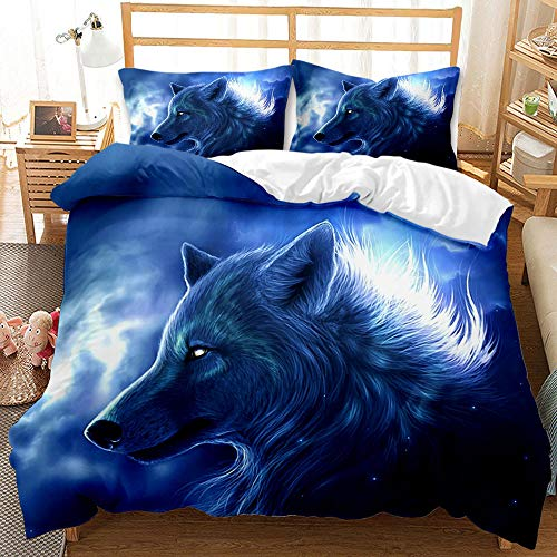 Bedding 3D Wild Animal Luminous Wolf Quilt Cover + Pillow Case with Zipper Single Double Wolf King 155x220cm (a1,200x200cm+80x80cmx2)