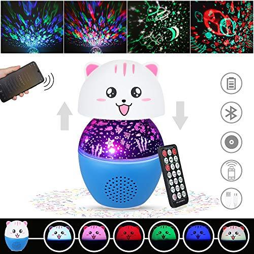 Anpro 16 Colores Lámpara Proyector Estrellas, Luz Nocturna Infantil para Niños,Lampara de Música con Bluetooth,Regalo para Niños,Bebe en Navidad