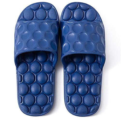 XZDNYDHGX Sandalias De Ducha NiñOs Y Adulto,Sandalias de baño Interior de Fondo Suave de Verano para Mujer, Sandalias Antideslizantes de Masaje para el hogar para Hombre, Azul Marino EU 41-42