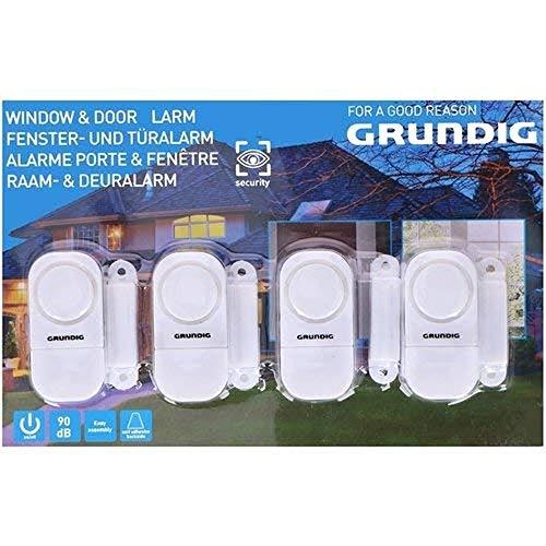 GRUNDIG Fenster- und Türalarm | Selbstklebend für einfache Montage | 90DB Signalton | für Türen/Fenster mit Scharnier oder Schiebefunktion (4)