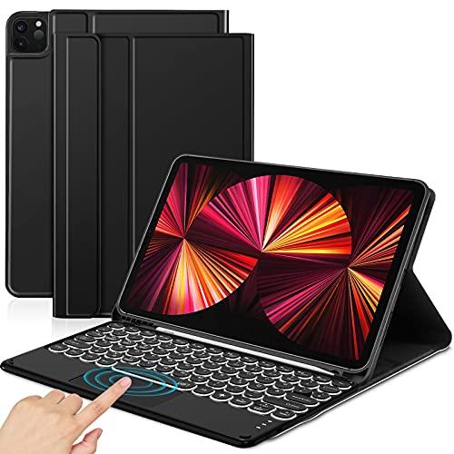 Sross-TEC Custodia con Tastiera Compatibile con Nuovo iPad PRO 11 2021, Italiana 7 Colori Retroilluminata iPad PRO 11 Pollice Tastiera con Touchpad, Nero(Solo per Il Modello 2021)