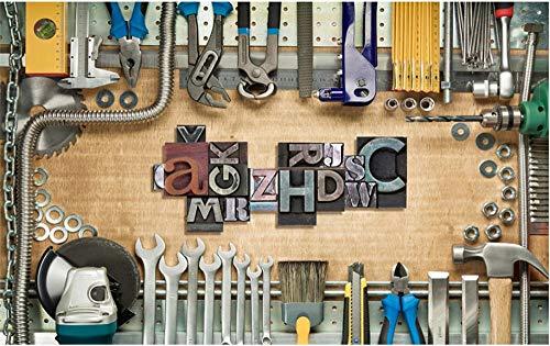 MINCOCO Europäische retro mechanische toolbox hintergrund wandbild tapete 3d reparaturwerkstatt industriedekor tapeten 3d, 300x210 cm (118.1 by 82.7 in)