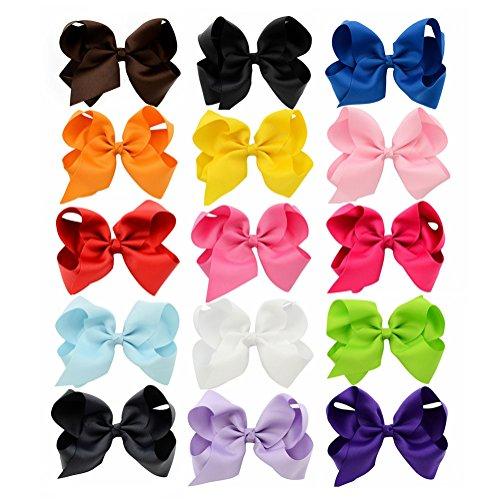 Pinzas para el cabello de niñas bebé Big Bows Boutique Grosgrain Ribbon Pinzas de cocodrilo Clip para bebés Niños pequeños para niños 15 piezas (6 pulgadas)
