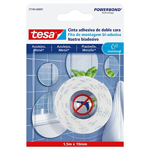 tesa 77744-00001-00 77744-00001-00-Smart Mounting System Montaje Permanente para Azulejo-SMS Cinta D/C Powerbond 1,5x19mm Resist a la humidad, Not_applicable
