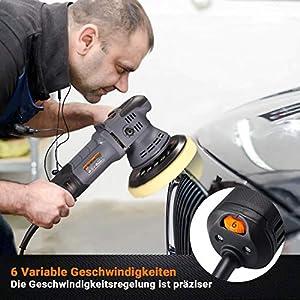 Exzenter Poliermaschine, TACKLIFE 750W Polierer, 9mm Polierhub, 6 Variable Geschwindigkeit mit 150/125mm Polierteller, 4 Polierschwämme, D-Griff/Seitengriff, zum Polieren von Auto, Möbeln - PPGJ04A
