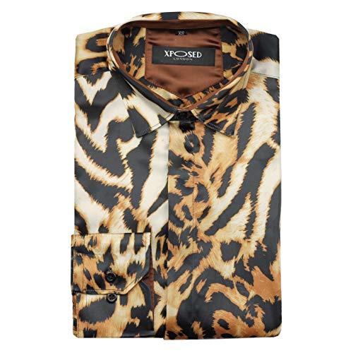 Xposed - Camisa de fiesta retro para hombre con estampado de leopardo y estampado de animales