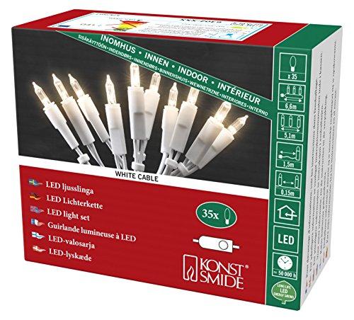 Konstsmide 6302-102 LED Minilichterkette / für Innen (IP20) VDE geprüft / 230V Innen / mit Schalter / 35 warm weiße Dioden / weißes Kabel
