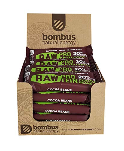 Raw Protein bar 50g [20 Pack]- Cocoa Beans- high Protein Low Fat- no Added Sugar- Vegan- Gluten-Free, Quality Fruit Ingredients