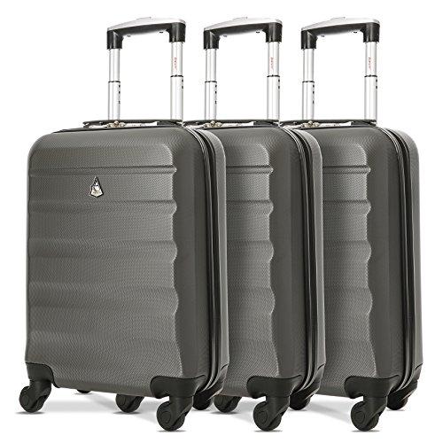 Aerolite Leichter ABS Hartschale 4 Rollen Handgepäck Trolley Koffer Bordgepäck Gepäck für Ryanair, easyJet, Lufthansa, und mehr (Kohlegrau x3)