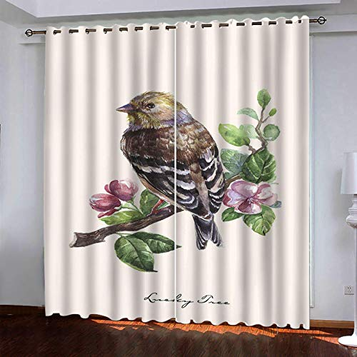 WLHRJ blackout curtains for bedroom living rooms kids kitchen window 3D Digital printing curtains eyelet - 55x39 inch - Watercolor plant little sparrow