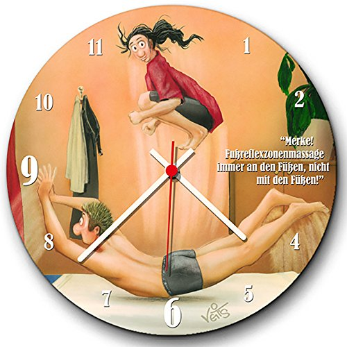Veit's originelle, lustige Cartoon Wanduhr Physiotherapie Fußreflexzonenmassage - Immer an den Füßen, Nicht mit den Füßen!