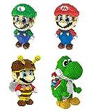 LNLJ Mini Mario Building Blocks Pet Building Toy Bricks, DIY Juego Figura De Acción Montaje De Juguete para Regalo (Paquete De 4)