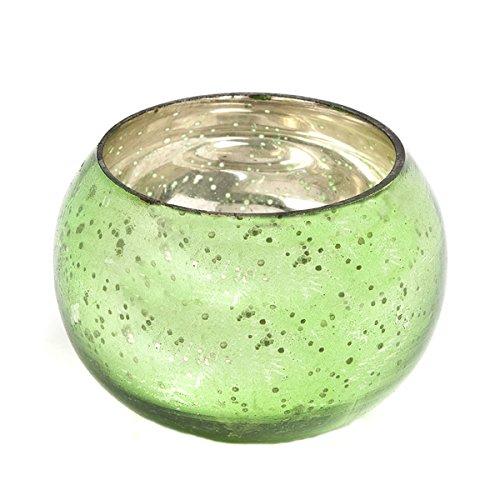 Insideretail-Portacandela tealight Rotondo, in Vetro, Colore: Verde, 6 x 6 cm, Confezione da 48