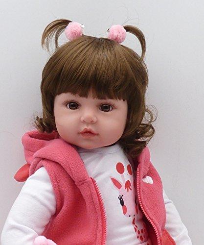 MAIDEDOLL Reborn Muñecas de bebé de Vinilo de Silicona Suave Realista Recién Panda Coat Negro Zapatos de Pantalones Nacido para niños Mayores de 3 años Juguete (46CM)