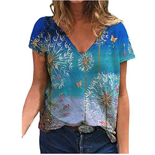 3D Druck Damen T-Shirt Sommer Kurzarm Oberteile Tshirt V-Ausschnitte Loose Tunika Bluse Bunte Motiv Tops Oversize Shirt Top Pulli