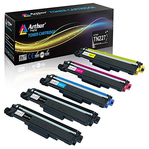 Arthur Imaging with CHIP Compatible Toner Cartridge Replacement For Brother TN227 TN227bk TN 227 TN223 use with HL-L3210CW HL-L3230CDW HL-L3270CDW HL-L3290CDW MFC-L3710CW MFC-L3750CDW L3770CDW 5 Pack