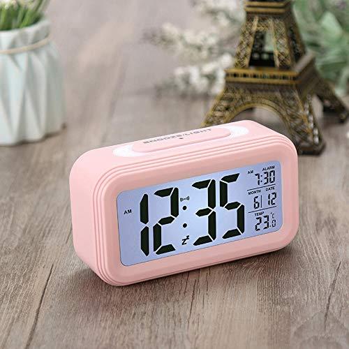 RENQIAN Gadget Elektronische wekker met 5 kleuren, groot LCD-display, digitale wekker met achtergrondverlichting Snooze Roze.