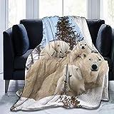 KUOAICY Lovely Polar Bear Family Fleece Throw Blanket Soft Bed Couch Sofa Blankets, 60'' X 50''