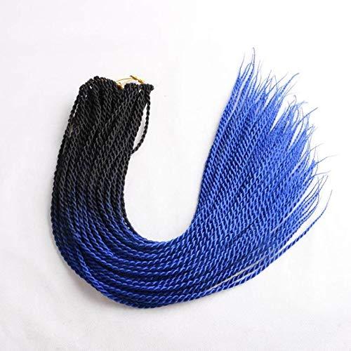 LINL 24 Pouces Ombre sénégalais Twist Hair Braiding Crochet 24 Roots/Pack tressage synthétique pour Les Femmes Gris Rose,Noir Bleu