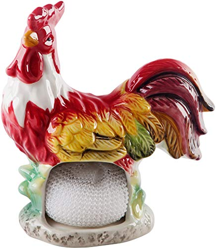 Farmhouse Decor Kitchen Sink Scrubby Holder (Red Rooster)