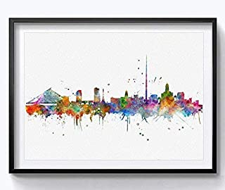 Dublin Skyline Cityscape Dublin Print Watercolor Art Watercolor Painting Ireland City Building Office Decor City Silhouette Wall Art 8x10 inch Unframed