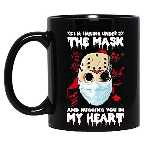 Estoy sonriendo bajo la máscara y abrazándote en mi corazón jason voorhees película de personajes de terror disfraz de halloween taza de cerámica tazas de café gráficas tazas negras tapas de té noveda