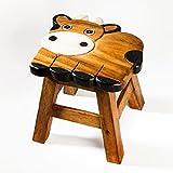 Kinderhocker, Schemel, Kinderstuhl massiv aus Holz mit Tiermotiv Kuh, 25 cm Sitzhöhe für unsere Kindersitzgruppe