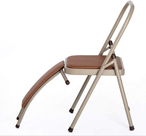 YUN HAI Siège rembourré en Cuir de Chaise de Yoga Pliante et Support de Taille Amovible, Chaise auxiliaire de Musculation à Domicile (Couleur   with Waist Support)