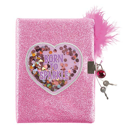 Three Cheers for Girls by Make It Real - Born to Sparkle Confetti Locking Journal - Secret Diary for Girls with Lock & Key - Lined Pink Notebook & Fluffy Feather Pen - Lockable Journal Stationery Set