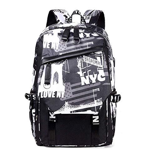 ZZWW Koreanische Version des Tide Rucksack Herren und Damen, mit USB-Ladeanschluss, High School Junior Schüler Schultasche, Computer Reise Outdoor Tasche, schwarz