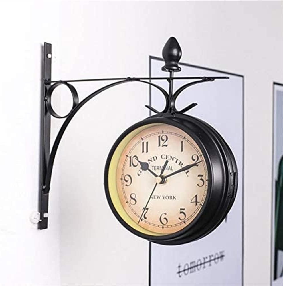 Luxury goods WANIYA1 9 2021new shipping free Inch Outdoor Garden Wall Double Sided Clock Wrought Ir