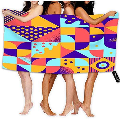 Mikrofaser Strandtuch für Reisen Vintage Retro Bauhaus Style Nähte Super Absorbent Handtuch für Kinder, Jugendliche, Erwachsene