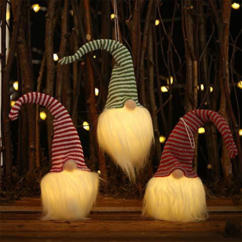 goodjinHH Weihnachten Deko Wichtel mit LED 31 cm Hoch, Schwedischen Weihnachtsmann Santa Tomte Gnom, Skandinavischer Zwerg Geschenke für Kinder Familie Weihnachten Freunde (rot)