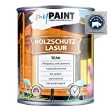 myPAINT® Barniz de alta protección (750ml, Teca) Barniz satinado para madera, exteriores - Base para madera - Pintura de madera para exterior