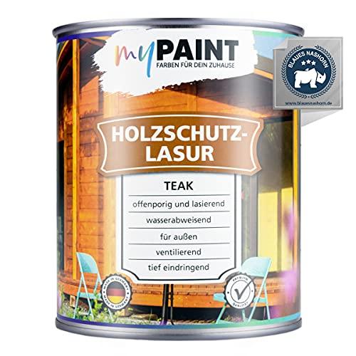 myPAINT® Holzschutzlasur (750ml, Teak) seidenglänzende Holzlasur Außen- Holz Grundierung - Holz Lasur - Holzlasur Aussen - Made in Germany