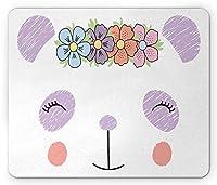 カワイイマウスパッド防傷機能、カラフルなパンダの女の子の顔に花の冠が付いた落書きスタイルのイラスト、標準サイズの長方形の滑り止めラバーマウスパッド防傷機能、多色
