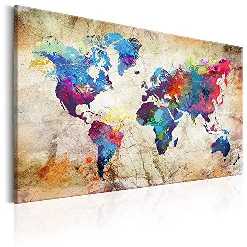 Mapa del mundo HD Mapa del mundo de gran tamaño HD Colorido y exquisito mapa mundial impresión impermeable Mapa Mapa del mundo Hermosa decoración del hogar-70x140cm_Amarillo