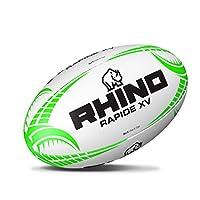 Rhino Rapide XV Rugby Ball, White/Green, Size 5 from Rhino